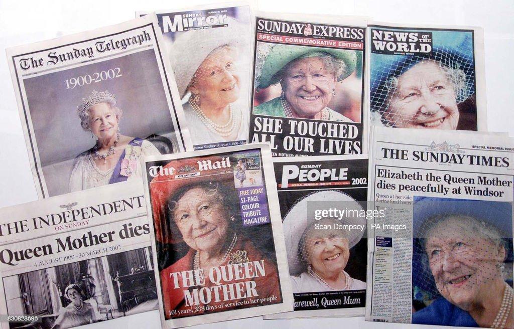 Queen Mother death newspapers : Nieuwsfoto's