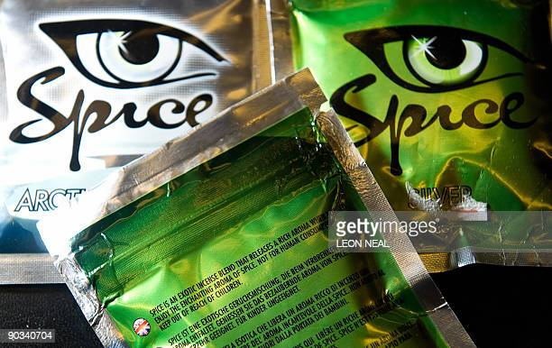 A selection of the 'Spice' legal stimulants is pictured in a shop in north London on August 28 2009 Spice which will be placed in Class B is made...