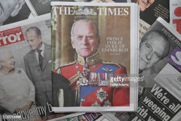 Selection of the UK newspaper front pages, including The Times, paying tribute to Prince Philip, Duke Of Edinburgh who died at age 99 on April 10,...