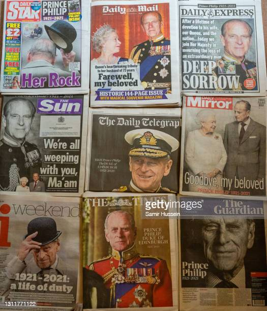 Selection of the UK newspaper front pages paying tribute to Prince Philip, Duke Of Edinburgh who died at age 99 on April 10, 2021 in London, United...
