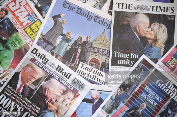 Selection of the UK newspaper front pages show images from the inauguration of President Biden, on January 21, 2021 in London, England. As the United...