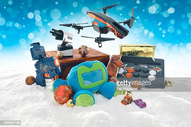 A selection of toy accessories for Apple iOS devices including Appgear Elite Commander iLaunch Thunder Griffin Woogie 2 Parrot ARDrone 20 and iCade...