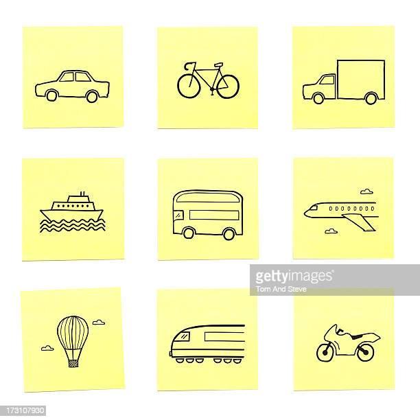 a selection of travel related sticky memo notes - quadrado composição imagens e fotografias de stock
