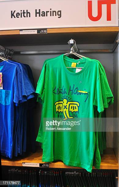 A selection of Tshirts featuring artwork by Keith Haring is among the casual clothing lines offered at the Uniqlo store on Powell Street in San...