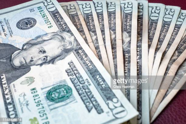 las vegas, usa - april 15, 2019: selection of twenty dollar notes from winnings in las vegas - number 20 stock pictures, royalty-free photos & images