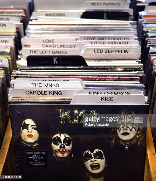 Selection of used record albums, including one recorded by the group Kiss, for sale in a music shop in Ashland, Oregon.