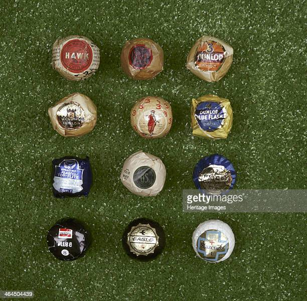 Selection of wrapped golf balls 20th century Top row Hutchison Main Company Hawk rubbercore floater 1907 Dunlop Lattice row 2 Dunlop Warwick Colonel...