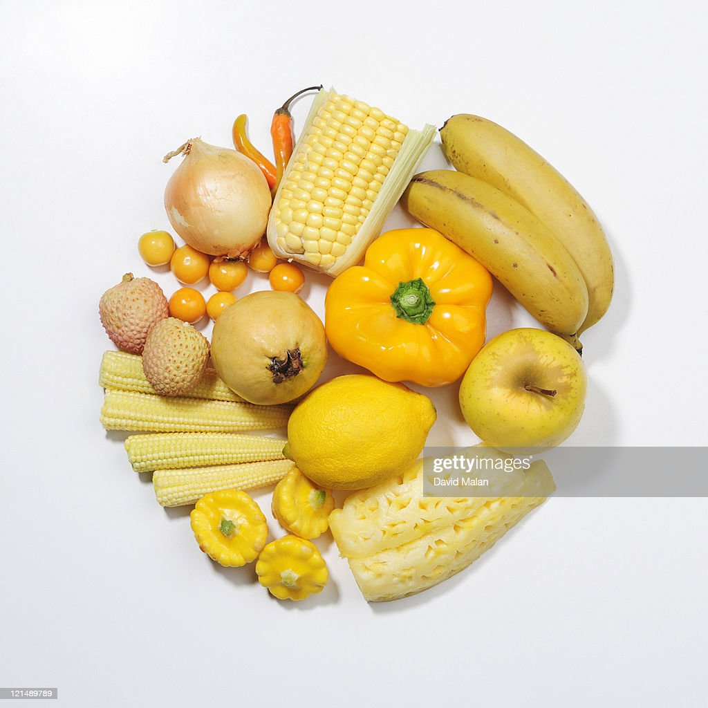 A Selection Of Yellow Fruits Vegetables Stock Photo ...