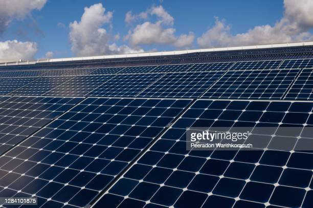 selective focus at field of solar panels or photovoltaics on the rooftop against blue sky. green and clean alternative electricity resource. future clean and sustainable energy concept. - steuerpult stock-fotos und bilder