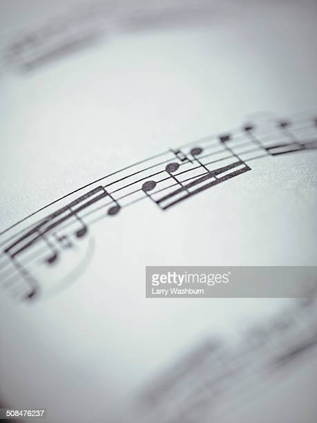 selective focus of musical notes - note de musique photos et images de collection