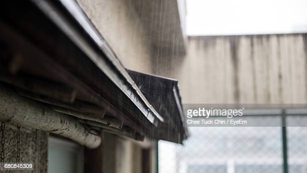 Selective Focus Of Rain And Gutter