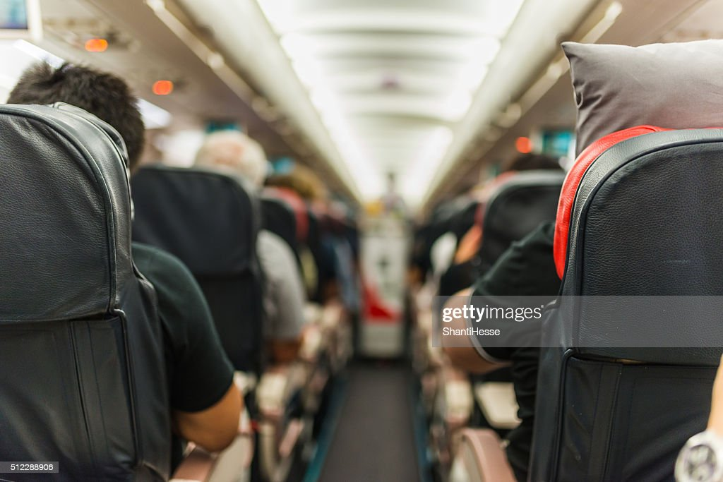 Selective focus shot in an airplane : Stock Photo