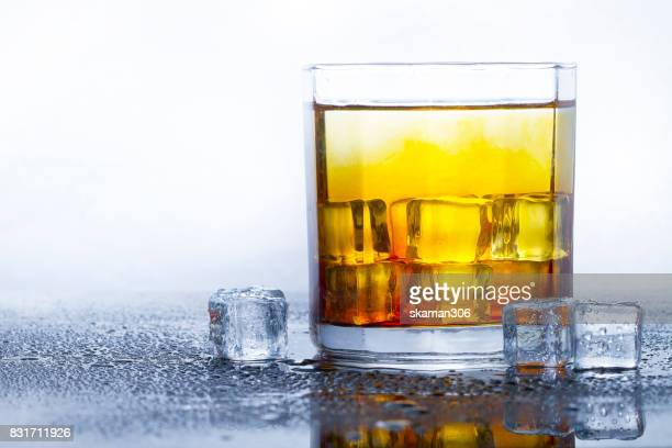 selective focus whisky mix with clod soda or sparking water an ice cube