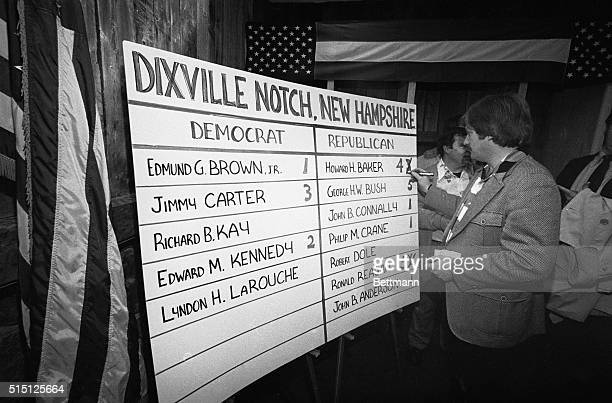 Selectmen Stephen Barba corrects the votes after a recount showed 4 votes for Howard Baker and only 5 for Ronald Reagan This tiny town near the...
