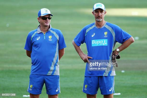 Selector Mark Waugh and assistant Coach Jason Gillespie looks on during an Australia T20 training session at Adelaide Oval on February 21 2017 in...