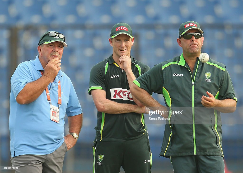 Selector Rod Marsh, captain George Bailey and coach Darren Lehmann of Australia look on during an Australian ICC World Twenty20 Bangladesh 2014 training session at Khan Saheb Osman Ali Stadium on March 26, 2014 in Narayanganj, Bangladesh.