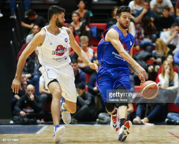 Selem Safar of the Blue Team fights for the ball with Patricio Garino of the White Team during the 29th Liga Nacional AllStar Game at Roberto Pando...