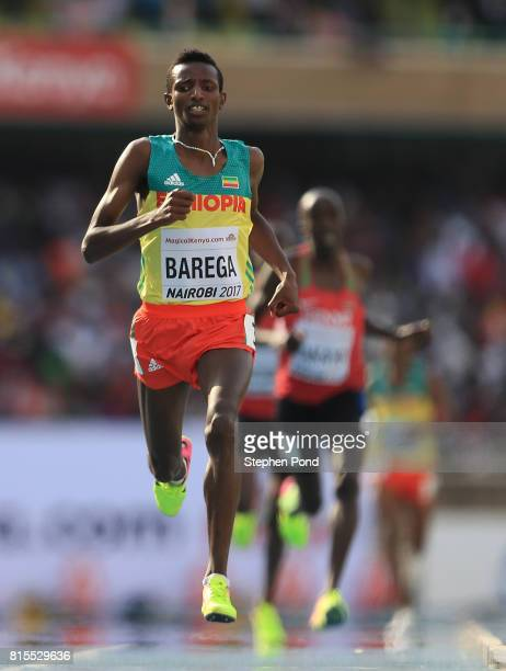 Selemon Barega of Ethiopia crosses the finish line to win gold in the final of the boys 3000m on day five of the IAAF U18 World Championships at The...