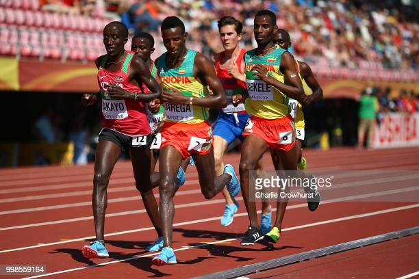 Selemon Barega of Ethiopia leads the field during the final of the men's 5000m on day five of The IAAF World U20 Championships on July 14 2018 in...