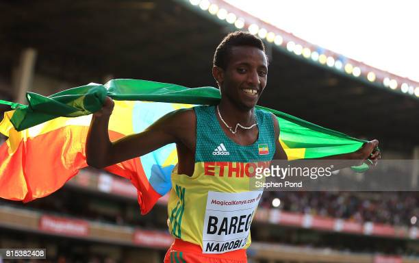 Selemon Barega of Ethiopia reacts after winning gold in the final of the boys 3000m on day five of the IAAF U18 World Championships at The Kasarani...