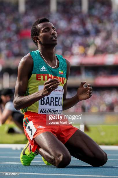 Selemon Berega of Ethiopia celebrates after the boys 3000m during day 5 of the IAAF U18 World Championships at Moi International Sports Centre...