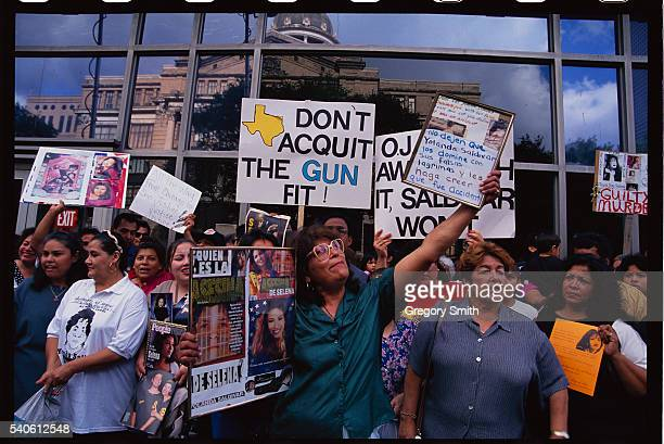 Selena fans congregate outside the courthouse in Houston Texas where the slain singer's murder trail is being heard