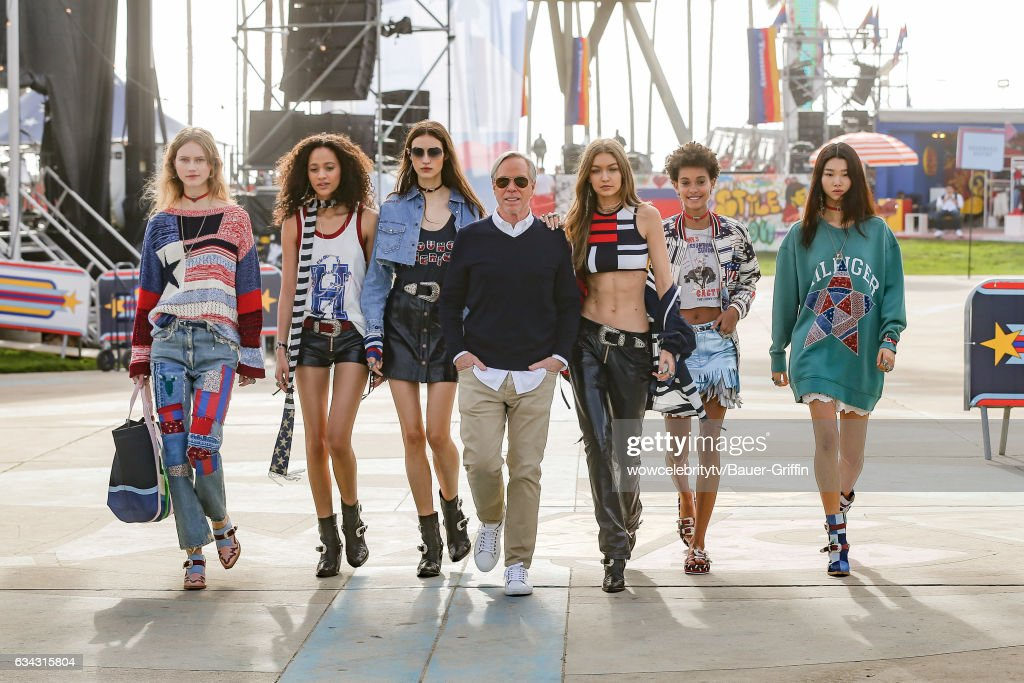 Selena Forrest (2nd L), Tommy Hilfiger (C) and Gigi Hadid (3rd R) are seen on February 08, 2017 in Los Angeles, California.