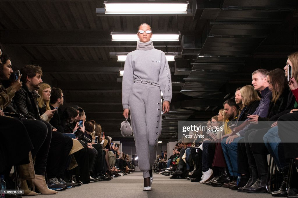 Selena Forrest walks the runway at Alexander Wang Fashion Show during New York Fashion Week at 4 Times Square on February 10, 2018 in New York City.