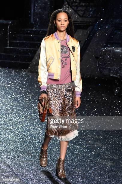 Selena Forrest walks the runway at Coach Fashion Show during New York Fashion Week on September 12, 2017 in New York City.