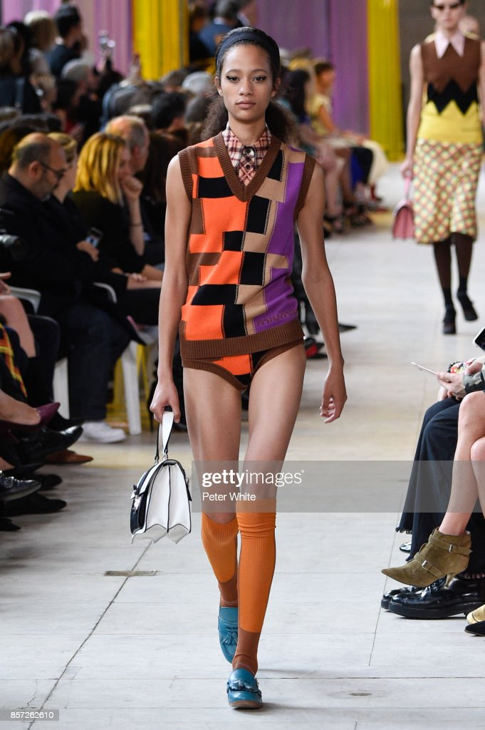 Selena Forrest walks the runway during the Miu Miu Paris show as part of the Paris Fashion Week Womenswear Spring/Summer 2018 on October 3, 2017 in Paris, France.