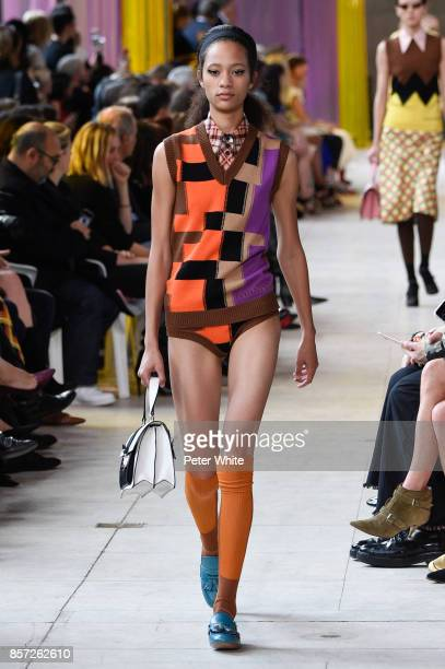 Selena Forrest walks the runway during the Miu Miu Paris show as part of the Paris Fashion Week Womenswear Spring/Summer 2018 on October 3, 2017 in...