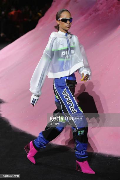 Selena Forrest walks the runway wearing Look 55 at the FENTY PUMA by Rihanna Spring/Summer 2018 Collection at Park Avenue Armory on September 10 2017...