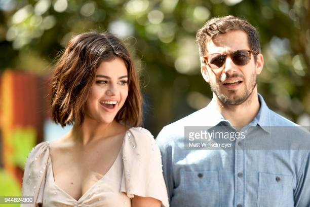Selena Gomez and Andy Samberg attend the photo call for Sony Pictures' Hotel Transylvania 3 Summer Vacation at Sony Pictures Studios on April 11 2018...