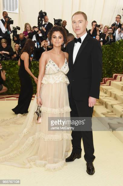Selena Gomez and designer Stuart Vevers attend the Heavenly Bodies Fashion The Catholic Imagination Costume Institute Gala at The Metropolitan Museum...