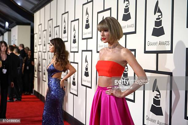 Selena Gomez and Taylor Swift attend The 58th GRAMMY Awards at Staples Center on February 15 2016 in Los Angeles California