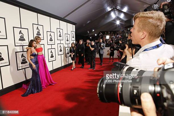 Selena Gomez and Taylor Swift on the Red Carpet at THE 58TH ANNUAL GRAMMY AWARDS broadcast on the CBS Television Network on Monday Feb 15 2016 at...