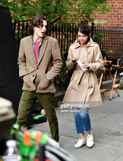Selena Gomez and Timothe Chalamet seen on location for Woody Allen's untitled movie on September 11 2017 in New York City