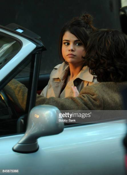 Selena Gomez and Timothee Chalamet on the set of the 'Untitled Woody Allen Project' on September 11 2017 in New York City