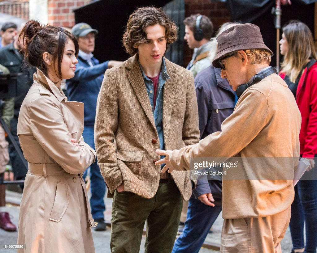 Selena Gomez and Woody Allen are seen on location of Woody Allen's Untitled Movie on September 11, 2017 in New York, New York.