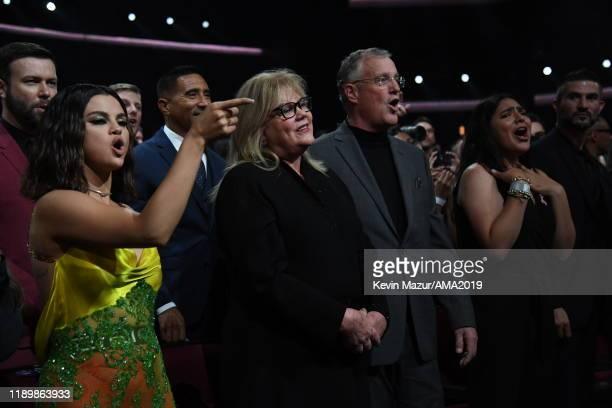 Selena Gomez, Andrea Swift, and Scott Kingsley Swift attend the 2019 American Music Awards at Microsoft Theater on November 24, 2019 in Los Angeles,...