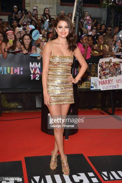 Selena Gomez arrives at the 2012 MuchMusic Video Awards at MuchMusic HQ on June 17 2012 in Toronto Canada