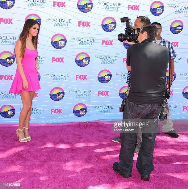 Selena Gomez arrives at the 2012 Teen Choice Awards at Gibson Amphitheatre on July 22 2012 in Universal City California