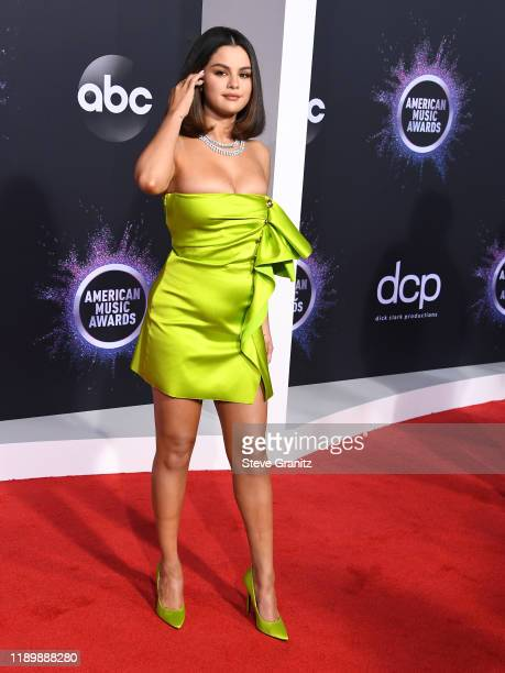 Selena Gomez arrives at the 2019 American Music Awards at Microsoft Theater on November 24 2019 in Los Angeles California