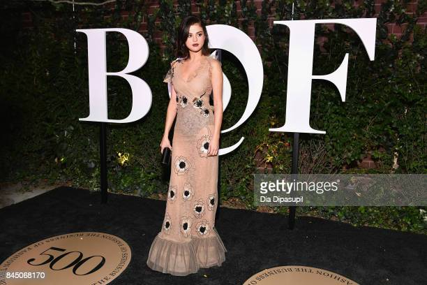 Selena Gomez arrives at the #BoF500 gala dinner during New York Fashion Week Spring/Summer 2018 at Public Hotel on September 9 2017 in New York City