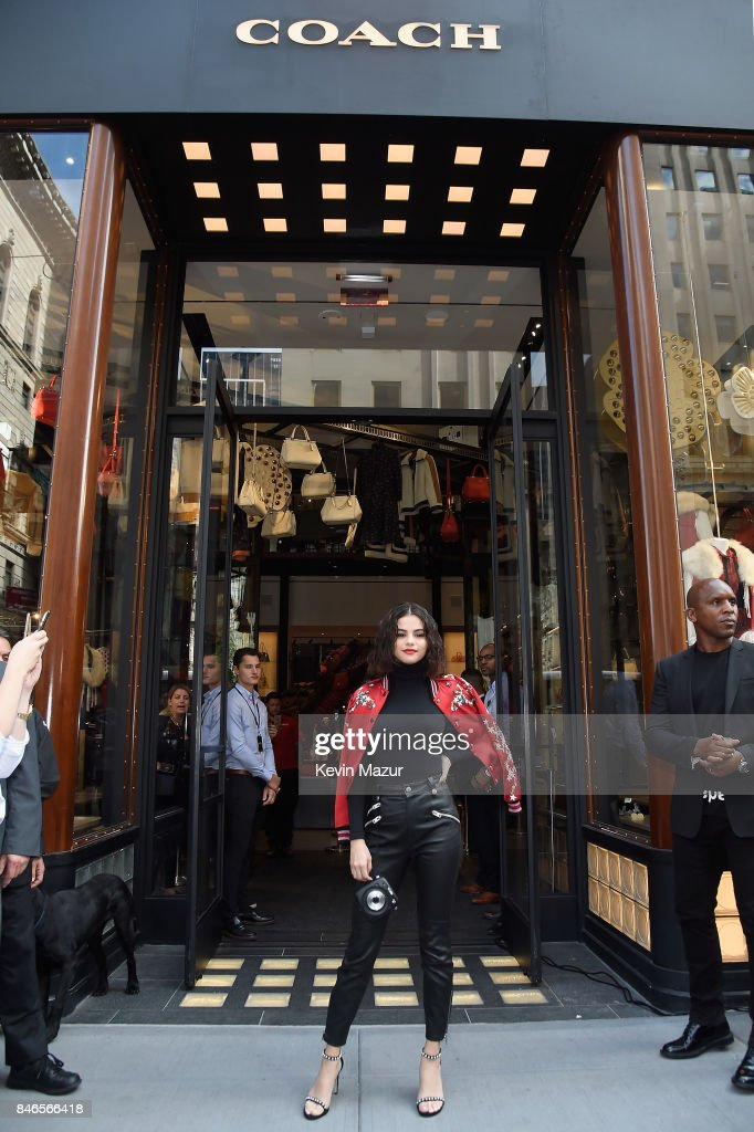 Selena Gomez arrives at the Coach In-Store Event with Selena Gomez at Coach Boutique on September 13, 2017 in New York City.