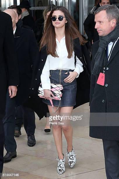 Selena Gomez arrives at the Louis Vuitton show as part of the Paris Fashion Week Womenswear Fall/Winter 2016/2017 on March 9 2016 in Paris France