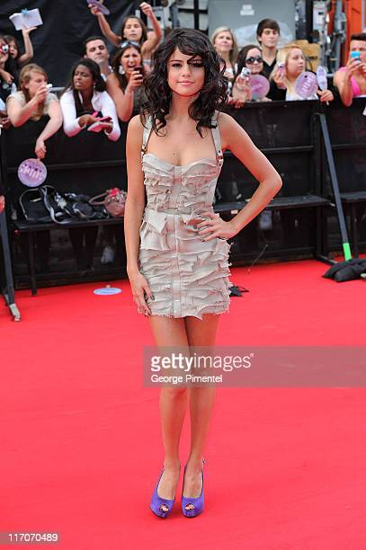 Selena Gomez arrives on the red carpet at the 22nd Annual MuchMusic Video Awards at the MuchMusic HQ on June 19 2011 in Toronto Canada
