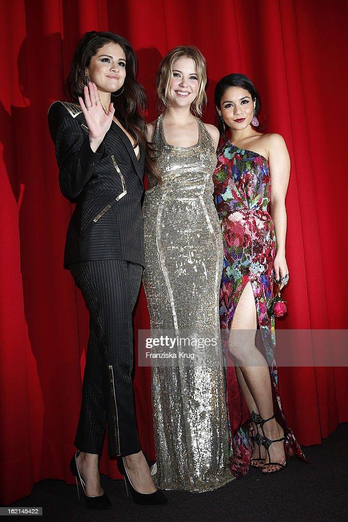 Selena Gomez, Ashley Benson and Vanessa Hudgens attend the German premiere of 'Spring Breakers' at the cinestar Potsdamer Platz on February 19, 2013 in Berlin, Germany.