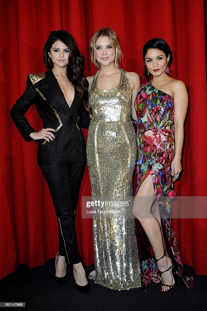 Selena Gomez, Ashley Benson and Vanessa Hudgens attend the premiere of 'Spring Breakers' at Sony Center on February 19, 2013 in Berlin, Germany.