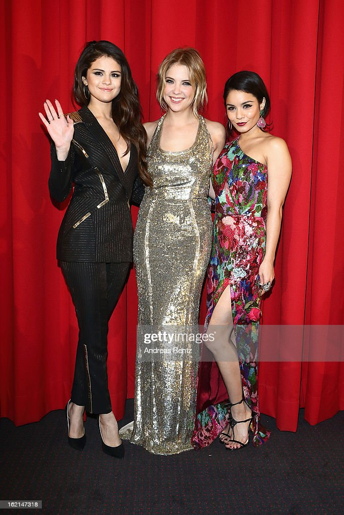 Selena Gomez, Ashley Benson and Vanessa Hudgens attend the 'Spring Breakers' Germany premiere at CineStar on February 19, 2013 in Berlin, Germany.